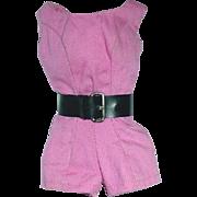 Vintage Barbie 1962-63 Scoop Neck Playsuit W/Belt Rose Pink