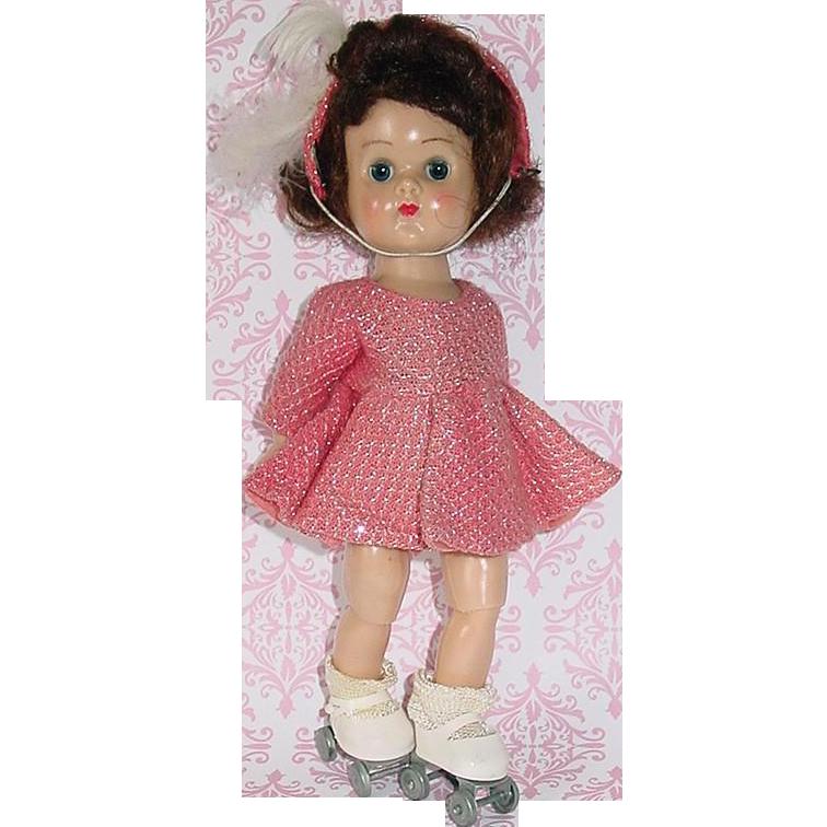 "Vintage Vogue 8"" BKW Ginny Wearing Pink Roller Skating Outfit"
