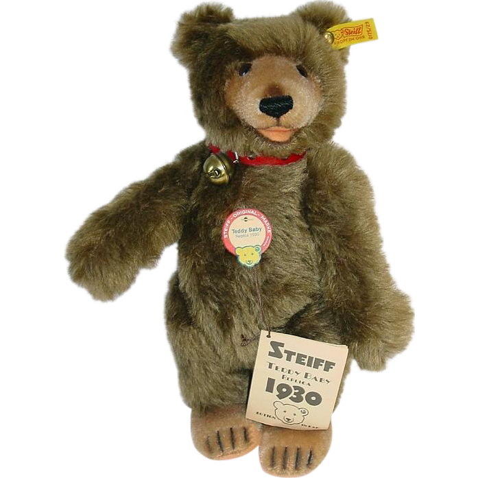"11.5"" Steiff Teddy BABY BEAR 0175/29 Brown Jointed Mohair Western Germany"