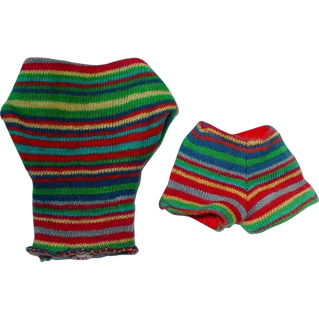 Vintage Barbie 1963 Striped Knit Pak Top and Shorts