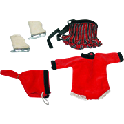 Vintage 1956 Vogue Ginny ~ #6050 Fun Time Red & Black Velvet Skating Outfit ~ Complete