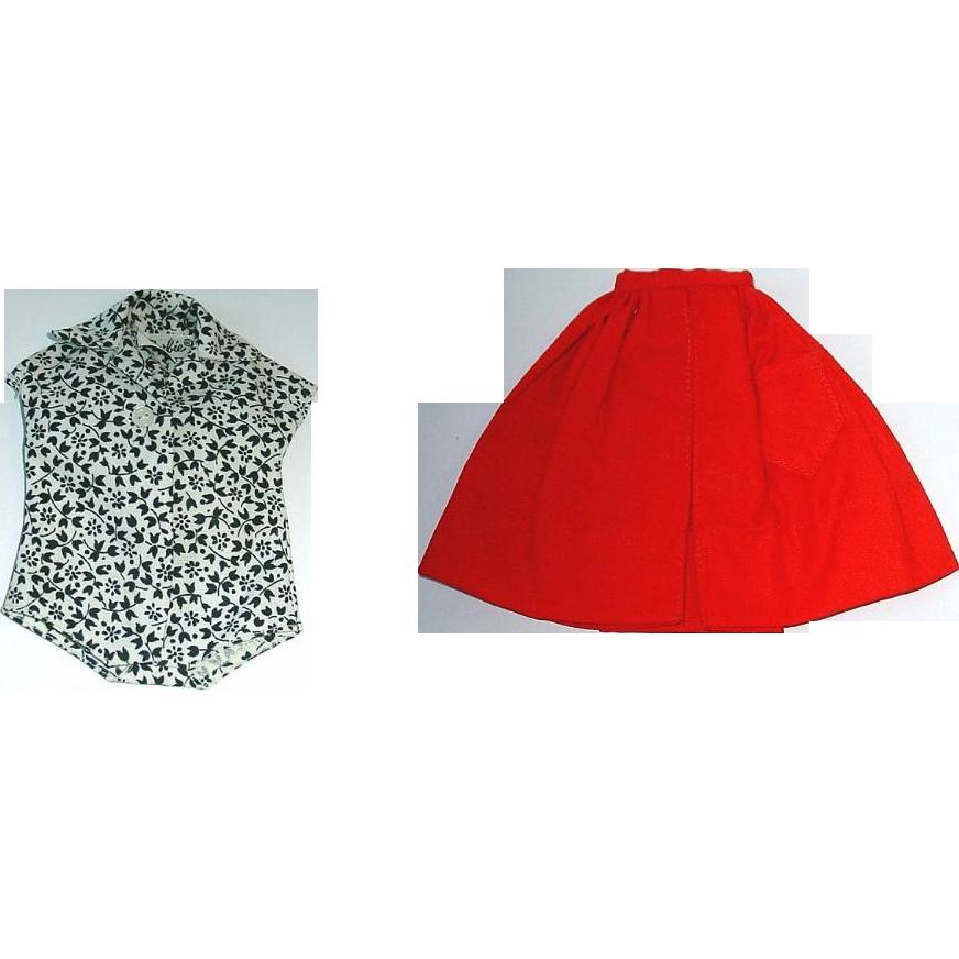 Vintage Barbie 1963 PAK Red Full Skirt & Floral Blouse