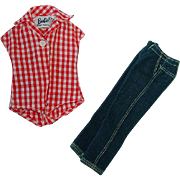 Vintage Barbie Outfit ~ PAK Jeans & Checked Shirt ~ Picnic Set