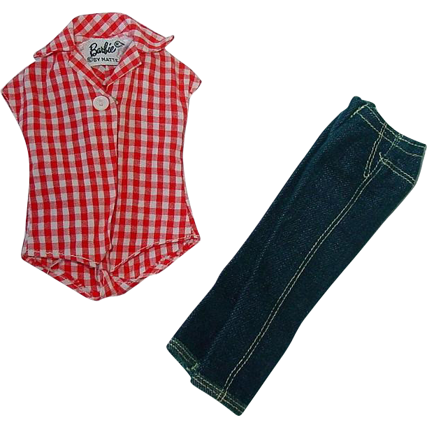 Vintage Barbie Outfit ~ PAK Jeans & Checked Shirt ~ Picnic Set
