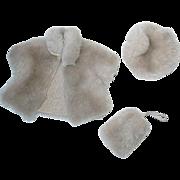 "Vintage Cosmopolitan 8"" Ginger Faux Fur Coat, Hat, Muff"