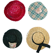 """Four Vintage 1950s Doll HATS 8"""" Ginny, Muffie, Alexander-kin +"""