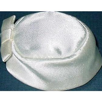 Vintage Barbie Fashion ~ 1963 White Satin Pak Pillbox Hat w/ Bow