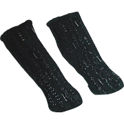 "6"" Antique Black Cotton Lacy Doll SOCKS"