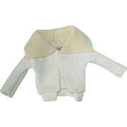 Vintage 1962-63 Barbie ~ PAK Cardigan Sweater White & Cream ~ No Moth Holes