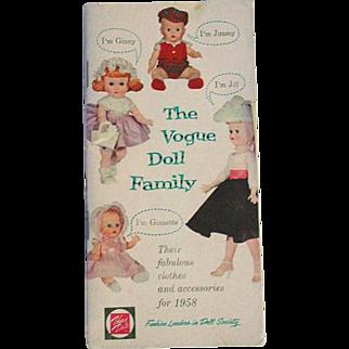 Vintage 1958 Vogue Doll Booklet