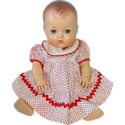 "Vintage 13"" American Character TINY TEARS Doll ~ Painted Hair & Rubber Body"
