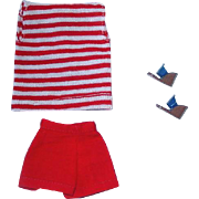 Vintage 1960s Barbie PAK ~ Red Shorts, Striped Top and Wedgies