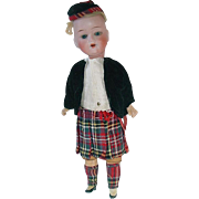 "Antique German 10"" Goebel Bisque Head Scotch Doll"