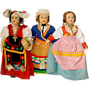 """Three Vintage Lenci Type 10"""" MAGIS Dolls ~  Made In Italy"""