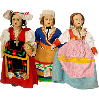 "Three Vintage Lenci Type 10"" MAGIS Dolls ~  Made In Italy"