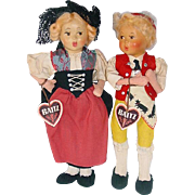 "Pair of Vintage Baitz 9"" Dolls From Austria ~ Bern & Bub"