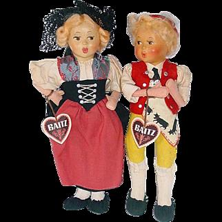 "Pair of Vintage Baitz 9"" Dolls From Austria ~ Bern & Bub"