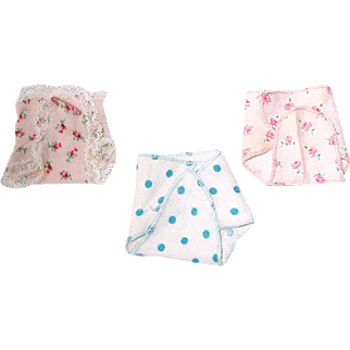 """Vintage 8"""" Vogue Ginnette or Little Genius Lot of 3 Diapers"""