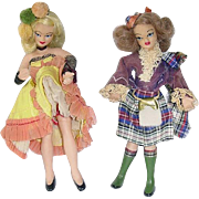 "Pair of Vintage 8"" FLAGG Dolls ~ Scotch and Spanish"