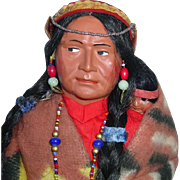 "Vintage Large 16"" SKOOKUM Indian Squaw and Papoose"