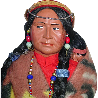 """Vintage Large 16"""" SKOOKUM Indian Squaw and Papoose"""