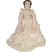 "Handmade Antique Cloth 11"" Doll W/Silk Gown"