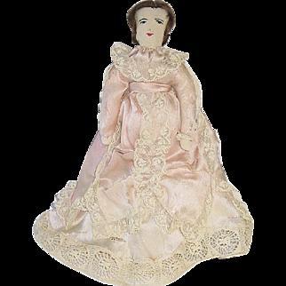 "Handmade Antique Cloth 11"" Doll W/Silk Gown"