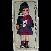 """Vintage 6.5"""" Painted Bisque Head Scotch Doll in Box ~ Redna Series ~ MacDuff"""