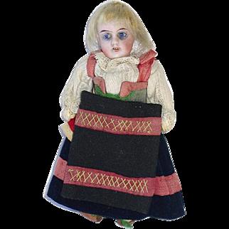 "Tiny Bisque Head 5.5"" Gebruder Kuhnlenz Doll in Original Costume"