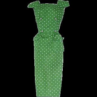 Vintage Barbie Fashion ~ Pak 1962-63 GREEN Polka Dot Sheath