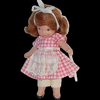Nancy Ann Storybook Doll ~ Molded Sock ~ Pudgy Tummy #117 School Girl