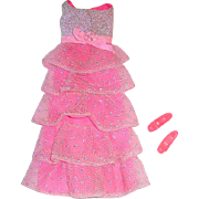 Vintage Mod Barbie Fashion ~ #1871 Romantic Ruffles ~ Dress & Shoes