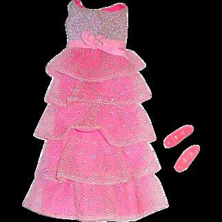 Vintage Mod Barbie Fashion ~ #1871 Romantic Ruffles ~ Dress & Shoes
