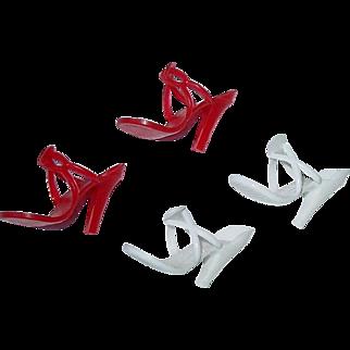 "Vintage 10"" Cissette, Revlon or Jill ~ High Heels ~ Shoes Red & White"