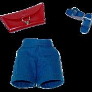 Vintage Barbie ~ Blue Shorts, Sandals & Red Pak Purse