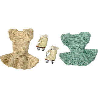 """Two Vintage Sonja Henie 14"""" Doll Skating Outfits"""
