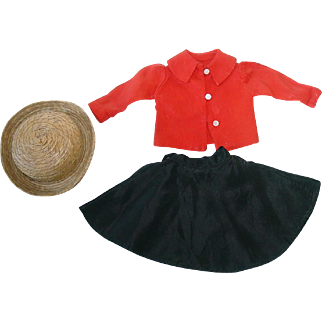 "Vintage Skirt & Blouse W/Straw Hat for 14"" Sonja Henie"