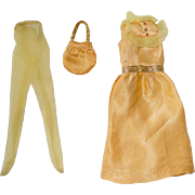 Vintage 1972 Barbie Fashion ~ #3340 GOLDEN GLITTER Dress Tights Purse