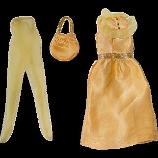 Vintage 1972 Barbie Fashion ~ #3340 GOLDEN GLITTER Dress Tights Purse