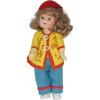 """Vintage 8"""" HP Walker Pam Doll With Molded Shoes ~ Original Outfit"""