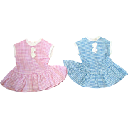 "Two Vintage 10"" Tiny Terri Lee ~ Matching Pink & Blue Dresses"