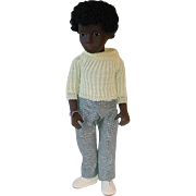 Vintage Boy Sasha Doll ~ MIB #318 Black AA Caleb Yellow Sweater HTF