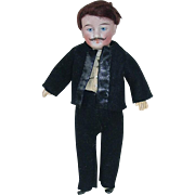 "Antique 8"" German Bisque Head Gentleman Doll With Mustache ~ All Original"