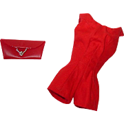Vintage Barbie ~ 1960s  Red Fashion PAK Scoop Neck Playsuit Romper and Purse