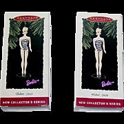Two Hallmark #1 Barbie Christmas Ornaments ~ MIB