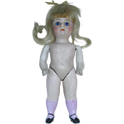 """Antique German 4 1/2""""  All Bisque #30 Girl Doll W/Pink Socks"""