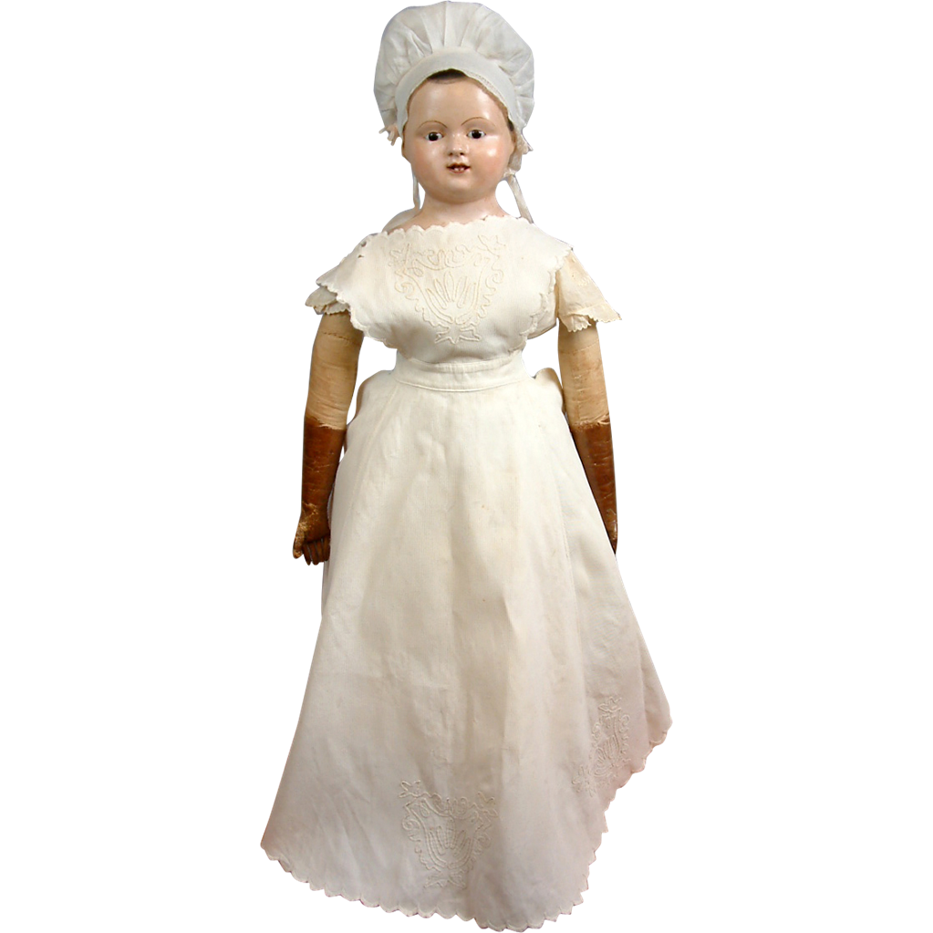 Early 1900s  Antique White Cotton Fashion Maid's Apron for The Biggest & Best Antique Fashion Dolls!