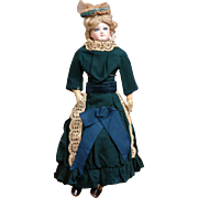 Navy Wool Visiting Ensemble Antique Doll Dress Sz. 1 French Fashion Doll C. 1885 With Eyelet Trim and Silk Ribbons