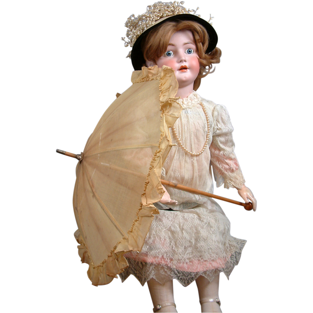 "Very Sweet Edwardian C. 1915 Parasol For Large 38-43"" Dolls With Wooden Bauble Handle"