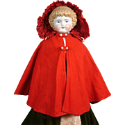 "Spectacular Antique China or Fashion Doll's ""Little Red Ridinghood"" Equestrian Cape of Wool And Silk C.1870"